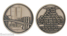 9-11 NEW YORK WTC MEMORIAL COIN FIRE POLICE FLIGHT 93 11 175 11 CHALLENGE COIN