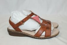NEW SOUL Naturalizer Brio Women's Strappy Sandals Saddle Leather Gingerstap 7.5M