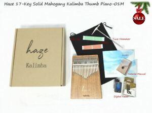 Haze 17-Key Solid Mahogany Kalimba Thumb Piano+Digital Tuner,Tutorial Manual 01M