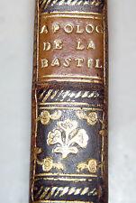 STORIA FRANCIA - Apologie Bastille 1784 Kehl Linguet Losanna Bastiglia Legatura