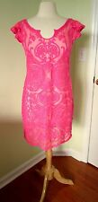 Yoana Baraschi Pink Lace Sheer Dress SIZE 8 Ruffle Flutter Floral Embroidered