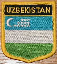 UZBEKISTAN Shield Country Flag Embroidered PATCH Badge P1
