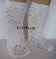 "White Lattice Diamond Pattern Knee Socks for American Girl 18"" Doll Clothes"