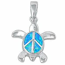 BEACH! BLUE OPAL PEACE SIGN TURTLE .925 Sterling Silver Pendant