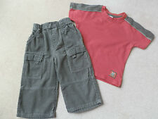 Baby Boy Red & Khaki T-SHIRT TOP & Khaki CORD TROUSER OUTFIT SET 18-24 months