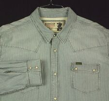 Barbour International Steve McQueen Blue White Striped Western Shirt Pearl 5XL