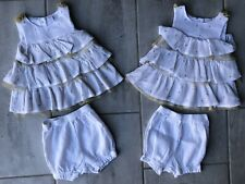 First Impressions Baby Girl Dress White Tiered Gold Dot Tulle & Diaper Cover 12M