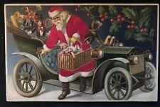 ~SILK~SANTA CLAUS in Car~Monkey~Doll~Toys~Holly~Antique CHRISTMAS Postcard~a552
