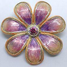 Vintage FLOWER BROOCH PIN Purple Pink Swirled ENAMEL Clear RHINESTONE Silver Ton
