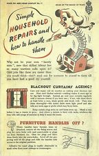 Simple Household Repairs Leaflet World War 2 Vintage Home Front 1940