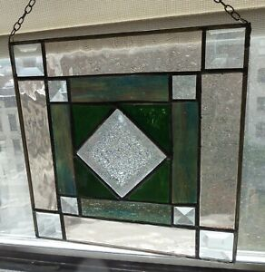 Stained Glass Modernist Sun Catcher Hanging 9 X 9 inches Artisan Made Beveled