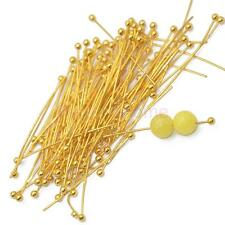 Lot 100 Ball End Head Pins Ballpins Jewelry Craft Findings Gold Plated 30mm