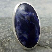 Large 925 Silver Blue SODALITE Ring Sz P-7.5 R392~Silverwave*uk Jewellery