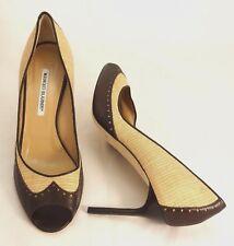 Manolo Blahnik Beige Woven Dark Brown Leather Peep Toe Pumps 41.5 NEW