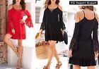 Vestito Donna Mini Abito Manica con Pizzo Woman Mini Dress Lace Sleeves 110276