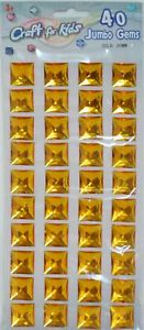 Craft for Kids Square Jumbo Gems, Gold Color