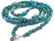 """Necklace 36"""" Native Tribal Southwestern Carolyn Pollack Relios 925 Turquoise"""
