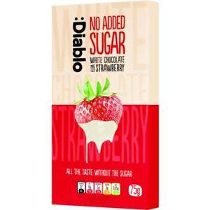Diablo Sugar Free Diablo White Chocolate Bar with Strawberry 75g (Pack of 12)