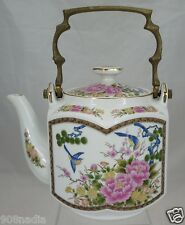 VINTAGE CHINESE OR JAPANESE PORCELAIN TEA POT,BRASS HANDLE,BIRDS & LOTUS FLOWER