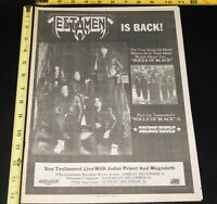 TESTAMENT Band Souls Of Black Album Tour 1990 Concert Ad Mini Poster Thrash