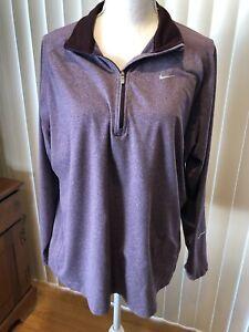 Nike Women Size 2XL Element Half Zip Running Top Purple Dri Fit Pullover