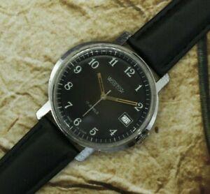 Vintage BIG Wrist Watch Vostok 17 Jewels Black Dial 2414A USSR Soviet Watch СССР