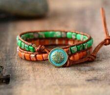 Crystal Bead Friendship Bracelet Wrap Surf Green Orange Chakra Leather Agate