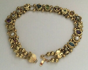 """Slide Charm Bracelet 14k Yellow Gold 7.75"""" 15.9gram Double Strand Multi Stone"""