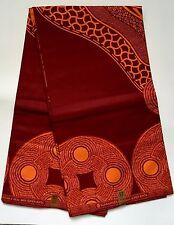 African Print Fabric, Ankara - Dark Red  & Orange 'Nostradamus ' - By the Yard