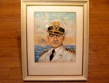 Antique INEZ Cruise Lines SHIP CAPTAIN Chalk PORTRAIT PAINTING Ned Tollinger