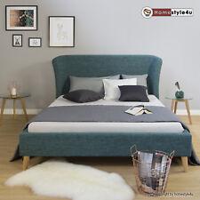 Polsterbett Doppelbett Stoffbett Bettgestell 140 x 200 Bett türkis blau
