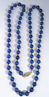"30"" Vintage Lapis Lazuli Stone Bead Necklace Deep Blue Natural Heavy Long"