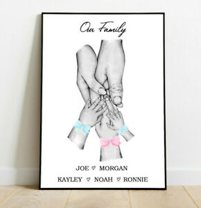 Personalised Family Hands Bows Wall Word Art Picture Poster Print Gift Keepsake