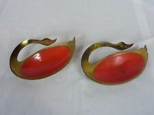 Pr Vintage Mid Century Red Enamel Brass Israel Dish Ashtray Goose Swan Bird