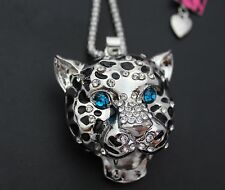 Betsey Johnson shiny silver blue eyes leopard head crystal necklace cool # 57y