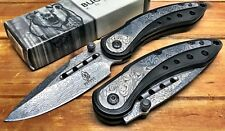 """8"""" ASSISTED-OPENING-DAMASCUS-ETCHED-KNIFE-Tactical-Folding-Pocket-Blade-BUCK BK"""