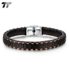 TT Brown Leather 316L S.Steel Rose Gold Wire Bracelet Wristband (BR254) NEW