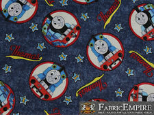 100% Cotton Fabric Prints Thomas the Train Engine Number 1 Denim Sold Bty