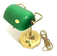 Art Deco Bankers Brass Desk Lamp Green Hand Blown Glass Vintage Light Pull Chain