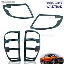 Grey Head Tail Lamp Light Cover Set For Ford Ranger Wildtrak 2012 2013 2014