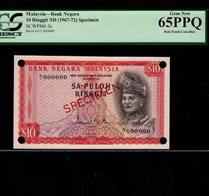Malaysia 10 Ringgit 1967 P-3s * PCGS Gem Unc 65 PPQ * Specimen * GABENOR *