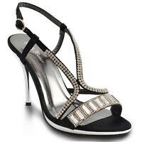 Womens Chrome High Heel Platform Sandals Ladies Diamante Bridal Prom Party Shoes