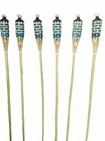 "Set of 12 Bamboo Tiki Torches Bamboo Covers 59"" ( Includes Oil Canisters ) Blue"