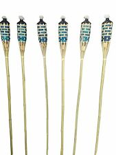 "SET OF 24  Bamboo Tiki Torches Bamboo Covers 59"" ( Includes Oil Canisters ) Blue"
