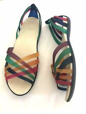 Crocs Huarache Multicoloured Strappy Flat Sandals W10 Uk 8( More Like 7)