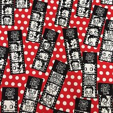 "Betty Boop Flannel Fabric Over 2 Yds X 45"" Wide Cotton Movie Strip"