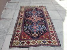 Antique Traditional Hand Made Caucasian Oriental Blue Red wool Rug 183x120cm