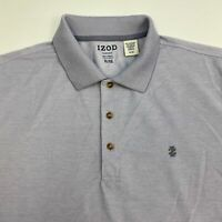 Izod Performance Polo Shirt Men's XL Short Sleeve Gray White Polyester Blend
