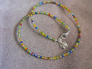 "14"" - 22"" glass beaded collar choker necklace RAINBOW GLASS SEED BEAD multi"