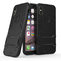 Hybrid 2 in 1 Hard Dual Layer PC Armor Stand Shockproof Case Cover For iPhone X
